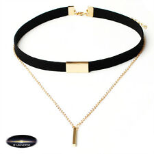 Golden black European Women Black Choker Necklace With Gold pendant stylish
