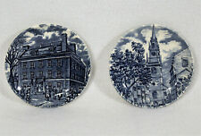 2 Liberty Blue Staffordshire Coasters Made in England