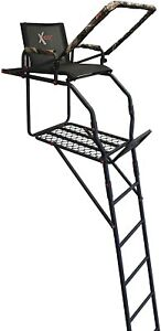 New X-Stand Treestands The Sportsman 17' Single Person Ladderstand, Black