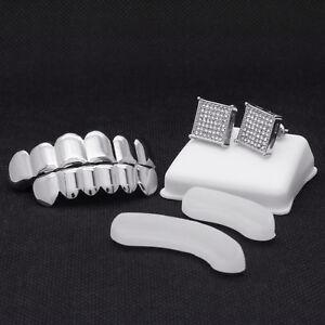 Silver Plated Hip Hop Teeth Grillz Caps Top & Bottom Set + Medium TC Earrings