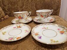 Antique Thomas Bavaria# 114 Porcelain 2 Cups & 4 Saucers Germany Flowers