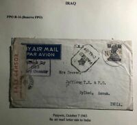 1943 Penjwin Iraq Indian Base FPO Censored Airmail OAs Cover To Sylhet India