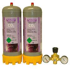 2 disposable Co2 2.2ltr gas bottles for MIG welding cylinder + 2 gauge regulator