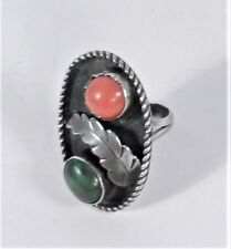 Coral Green Turquoise Shadow Box Ring -8.5 Signed - Mexico - Sterling Silver Red