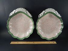 Pair Antique English Spode Creamware Shell Form Dishes Impressed Mark circa 1800