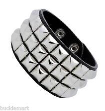 Silver Pyramid Studs Wristband 80s Gothic Punk Glam Emo Studded Stud
