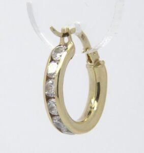 CZ Hoop Earrings - 9ct Yellow Gold - 19x17mm
