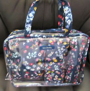 Vera Bradley Scattered Wildflowers 4 pc Cosmetic organizer-floral plastic lining