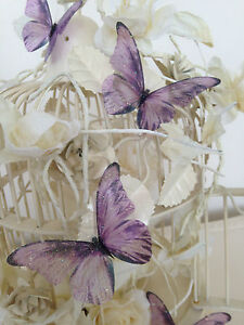 Wedding Decorations Butterflies 10 Sparkling 3D Lilac Table Decorations