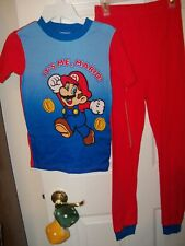 Super Mario It's Me Mario Long 2 Piece Pajama PJ Set Boys Size 10 NWT #5