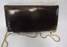 VINTAGE BROWN SNAKESKIN LEATHER CONVERTIBLE CLUTCH BAG CHAIN STRAP