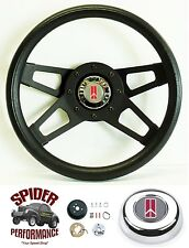 "1969-1977 Cutlass 442 F85 Omega steering wheel OLDSMOBILE 13 1/2"" BLACK 4 SPOKE"