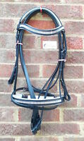 NEW DIAMONTE LEATHER COMFORT BRIDLE WITH WHITE PADDING WITH FREE REINS BLACK