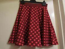 Dark Red & Pink Apple or Cherry Pattern Short Skirt - Bright & Beautiful Size XS