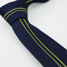 Coachella Ties Navy Blue With Gold Vertical Stripe Woven Necktie Man SKINNY Tie
