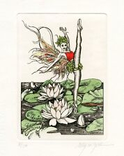 Ballerine & Water Lilies, Fairy Tale Ex libris by Elly de Koster, Nederland