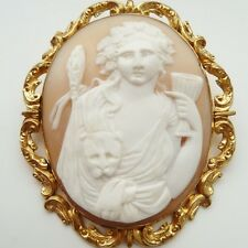 """ANTIQUE SHELL CAMEO UNUSUAL FACE ON OF DIONYSUS GEORGIAN OR EARLIER LARGE 2 3/4"""""""