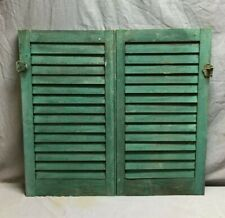 Small Pair 16x29 Antique House Window Wood Louvered Green Shutters VTG  450-20B