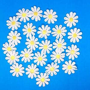 24x White Daisy Flower with Yellow Center Embroidered Sew On Applique Patch for