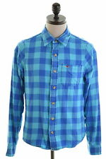 HOLLISTER Mens Flanel Shirt Medium Blue Check Cotton