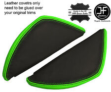 BLACK & GREEN LEATHER 2X DASH END SIDE TRIM COVERS FITS VW T5 TRANSPORTER 03-11