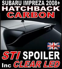 Subaru Impreza STI Style Carbon Rear Boot Spoiler 2008+ GRB Hatchback + Led