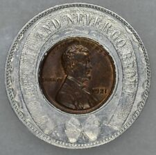 1921 Lincoln Wheat Encased Cent Cline Optical Company Dayton Ohio UNC Brown Tone