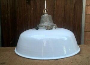 Vintage Industrial Enamel Light Shade - Factory Shed Pendant Ceiling Lamp