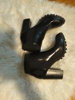 Steve Madden Women's Boots Black Size 11 M Black Big Heels Leather Slip on Style