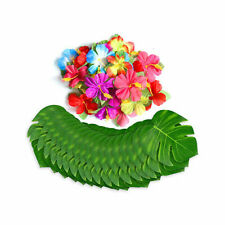 48pc Luau Party Table Decorations Hibiscus Flowers Tropical Palm Leaves Set