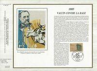 Foglio CEF 1er Giorno Sul Seta Francia 1885 Vaccino Contro Rage 1985
