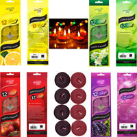 12 Scented Tea Light Candles Fragrance Coloured Party Wedding Decor Tealight 3HR
