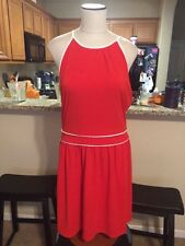 Women's Boston Proper Red & White Open Back Dress SIze 12 or L 70's Style
