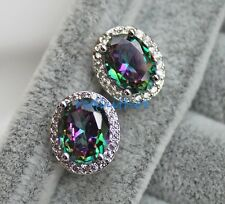 18K White Gold Filled - 8*10MM Oval MYSTICAL Rainbow Topaz Gems Earrings Jewelry