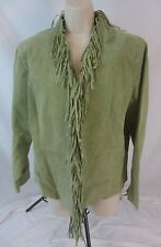 Dialogue Suede Leather Fringe Green Lined Coat Jacket - Women's Small - SR 21