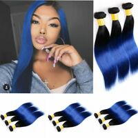 1-3 Bundles #1B/Blue Ombre Straight 100% Remy Virgin Hair Human Hair Extensions