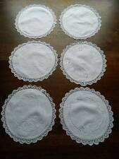 Six antique linen & bobbin lace doilies or place mats  with hand embroidery.