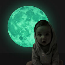 30cm 3D Large Moon Fluorescent Wall Sticker Removable Glow In The Dark Sticker T