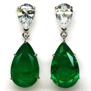 FOREST GREEN DOUBLETTE EMERALD & WHITE CZ EARRINGS 925 STERLING SILVER