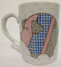 RARE! Vintage Quilt Craft Pattern Pig Barn Farm Bird Rope Handle Coffee Cup Mug