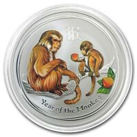 2016 ~ PURE .999 SILVER ~ 1~Z~ YEAR of the MONKEY ~ COLORIZED ~ CAPSULE ~ $48.88