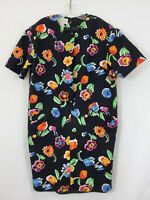 Evan-Picone Black with Floral Print Flowing Lined Dress Size 16