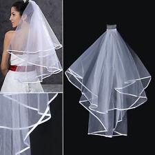 Women Bridal Wedding 2-tier Veil With Satin Edge Comb Hen's Night White 2018