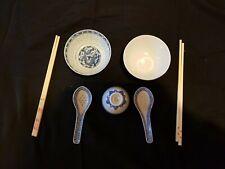 5 teiliges Reisschalen-Set China-Porzellan mit Löffeln und Dipschälchen gebrauch