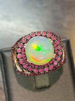 NATURAL FIRE OPAL 11.5 MM. RUBY DIAMOND CUT STERLING SILVER 925 RING