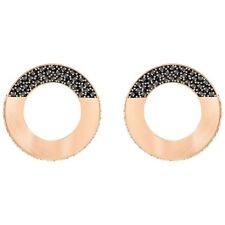 NWT Swarovski Hoop Fever Round Pierced Earrings Black Rose Gold Plating 5352005