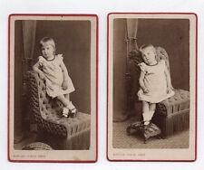 2 PHOTOS ANCIENNES CDV Enfant Fille Fauteuil Collier Kohler-Dietz Mulhouse 1880