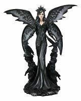 """Large Gothic Crow Raven Fey Fairy Queen Maleficent With Crown Statue 24""""H Decor"""