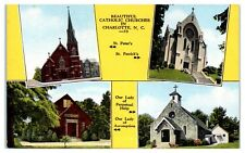 Mid-1900s Catholic Churches in Charlotte NC, St. Peter's, St. Patrick's Postcard