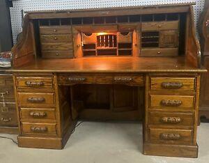 """Vintage Beautiful American 66"""" Oak S Curved Golden Oak Roll Top Desk"""